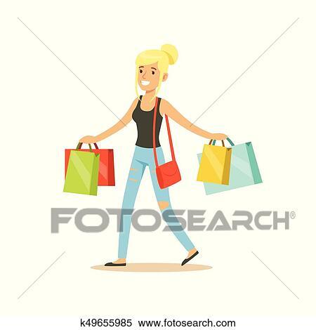 Clipart - feliz, rubio, mujer, en, un, ropas ocasionales, ambulante ...