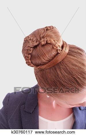 Femme Affaires A Complique Brioche Coiffure Banque De Photo K30760117 Fotosearch