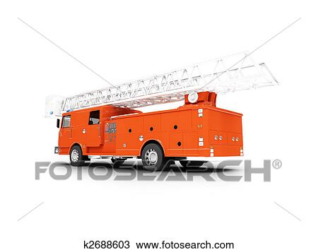 drawing of firetruck long isolated back view k2688603 search