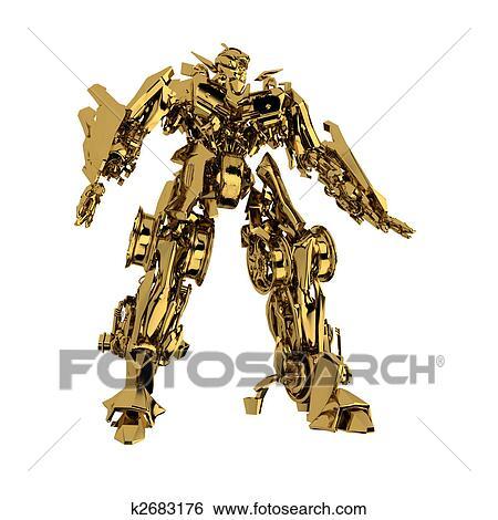 Stock Illustration Of Golden Robot K2683176 Search Clip Art