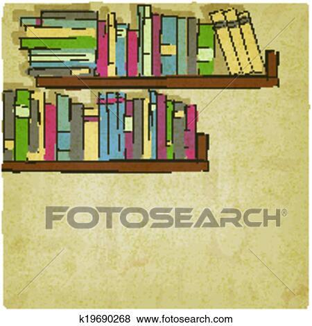 Clip Art Of Hand Drawing Bookshelf Old Background K19690268
