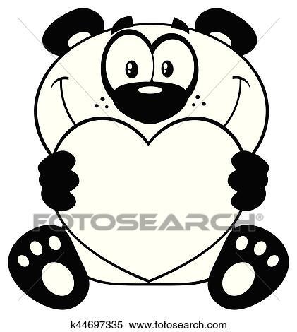 Noir Blanc Ours Panda Dessin Animé Mascotte Caractère Tenue A Valentin Aimez Coeur Clipart