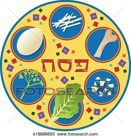 Clipart Of Passover Plate K18886693 Search Clip Art Illustration