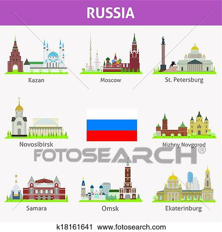 Clipart Of Russia Symbols Of Cities K18161641 Search Clip Art