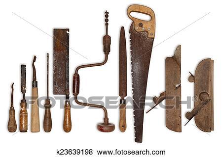 Ongekend Samenstelling, van, oud, gereedschap, voor, hout Stock Foto OW-13