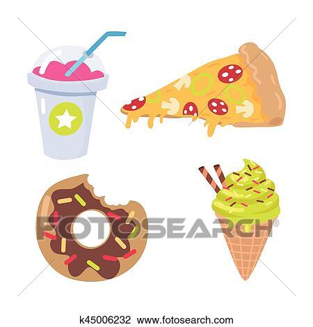 Clipart Smoothie Pezzo Di Pizza Doughnut Cono Gelato