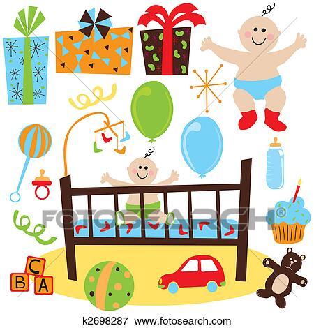 男の赤ん坊 レトロ 誕生日パーティー イラスト K2698287 Fotosearch