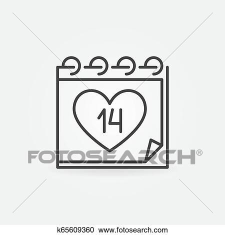 Calendario Vector Blanco.14 February Calendar Vector Icon In Outline Style Clipart