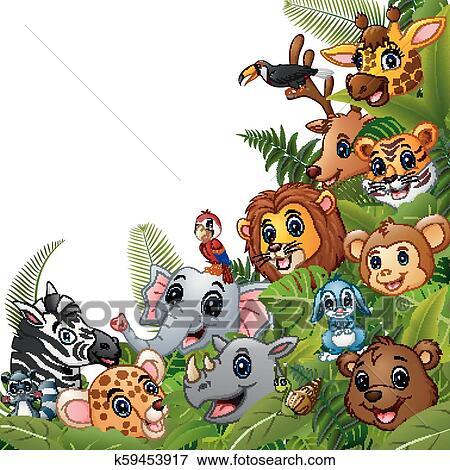 Animais Floresta Desenhos Animados Encontre Junto Clipart