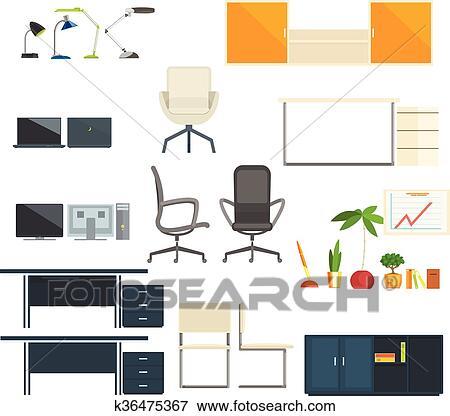 Clip Art - büromöbel, und, gegenstände, sammlung k36475367 - Suche ...