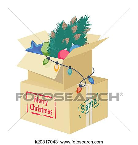 cardboard box overflowing with christmas decorations with an eggshell christmas tree ornaments and string of lights with the text merry christmas for - Large Cardboard Christmas Decorations