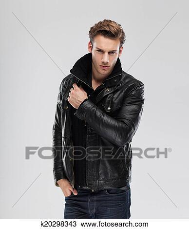 Stock Photo Of Fashion Man Model Leather Jacket Gray Background