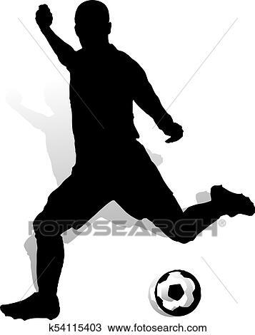 Fussballspieler Mit Kugel Marken A Bowle Silhouette