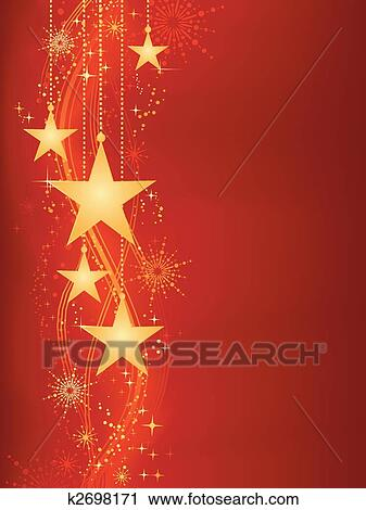 Red Christmas Background.Golden Hanging Stars On Red Background With Grunge Elements Iskarpa
