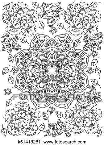 Mandala Blume Farbung Raster Fur Erwachsene Clip Art