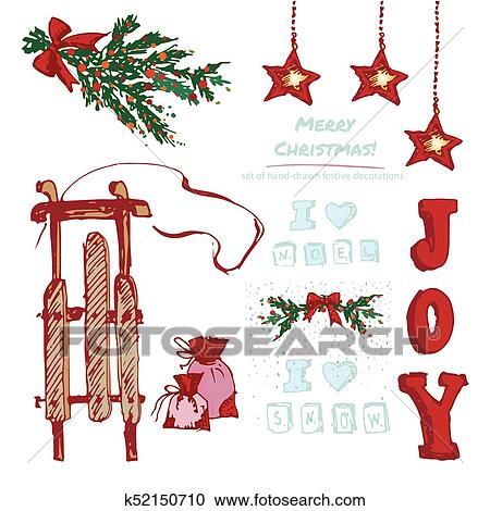 Clipart of Set hand-drawn holiday gifts and Christmas wreath ...