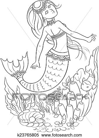 Clipart Of Young Mermaid Swimming In The Ocean K23765805