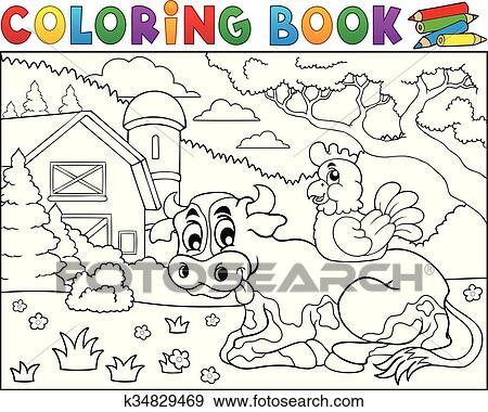 Clip Art Ausmalbilder Kuh Bei Bauernhof Thema 3 K34829469