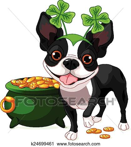 clipart of boston terrier celebrates saint pat k24699461 search rh fotosearch com Boston Terrier Drawing Boston Terrier Drawing