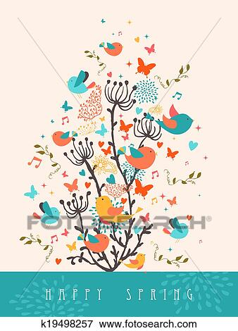 Clip art of happy spring greeting card illustration k19498257 clip art happy spring greeting card illustration fotosearch search clipart illustration posters m4hsunfo