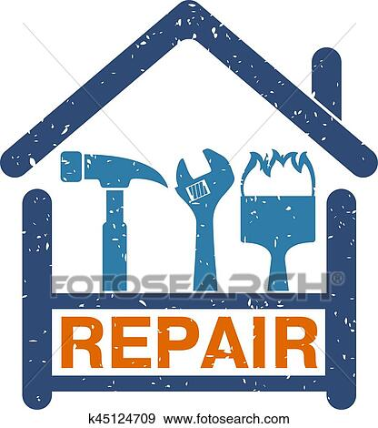 Clip Art Of Home Repair Symbol K45124709 Search Clipart