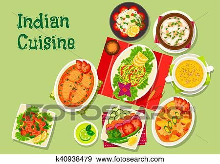 Clip Art Of Indian Cuisine Lunch Dishes Icon For Menu Dessign
