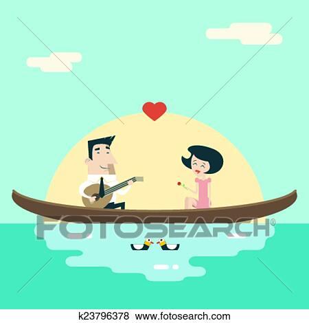 clip art of love male and female on gondola cartoon characters