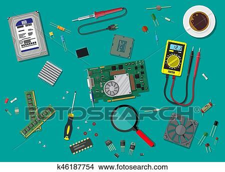 Pc Service Personal Computer Hardware Clipart K46187754 Fotosearch