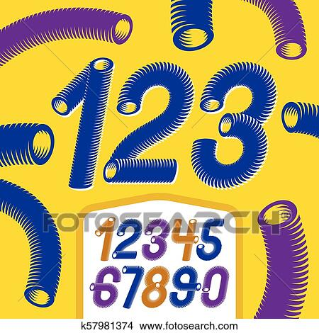 Trendy vector numerals collection  Modern italic funky numbers from 0 to 9  best for use in logo, poster creation  Made with industrial hose, 3d