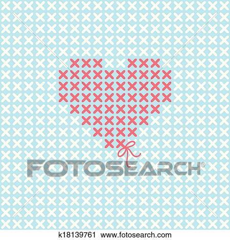 Gut bekannt Valentineçs, karte, mit, sticken, herz Clipart | k18139761 XM04