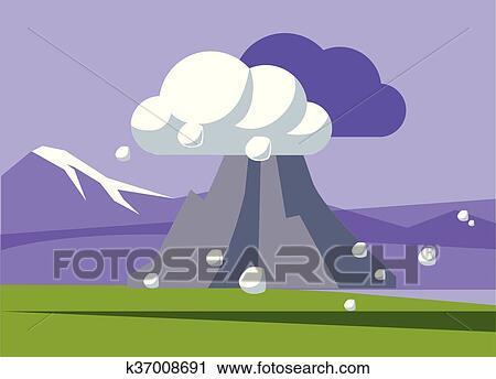 Clipart Volcan Exploser Dans Islande K37008691 Recherchez Des