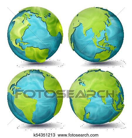 World Map Vector. 3d Planet Set. Earth With Continents ... on map of antarctica globe, map of pacific ocean globe, map of world globe,