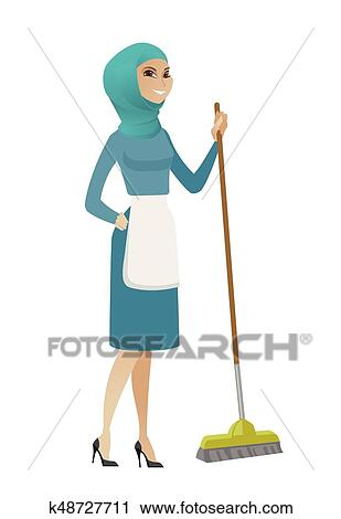 young muslim housemaid sweeping floor with a broom clipart k48727711 fotosearch fotosearch