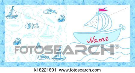 赤ん坊 カード 海 モチーフ で 船 そして 魚 クリップアート