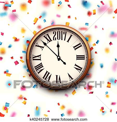 clip art 2017 new year clock background fotosearch search clipart illustration
