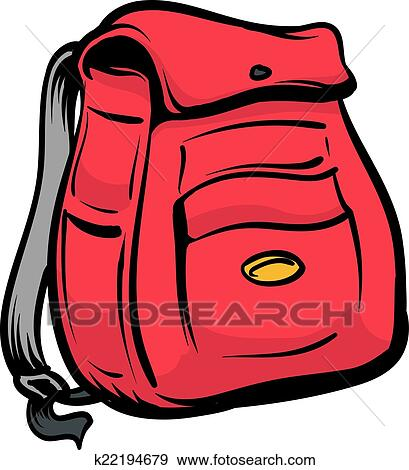 clip art of backpack k22194679 search clipart illustration rh fotosearch com clip art backpack with a book images clipart backpack and kids