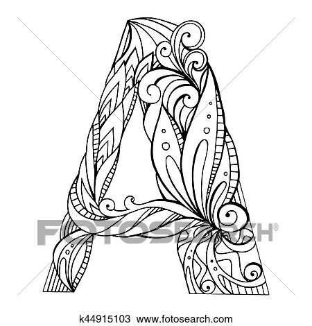 Clipart Of Black And White Freehand Drawing Capital Letter A With