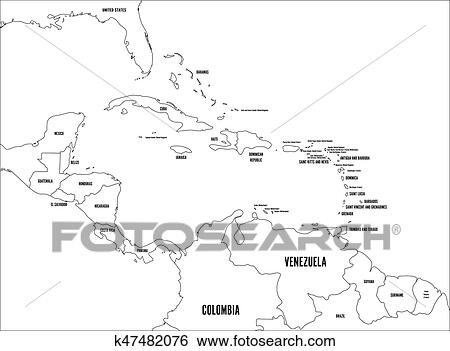 Central America and Carribean states political map. Black ...