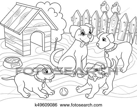 Childrens Coloring Book Cartoon Family On Nature Mom Dog And Puppies Children Clip Art