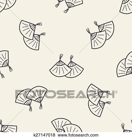 Clip Art of Chinese New Year; Folding fan with Chinese blessing ...