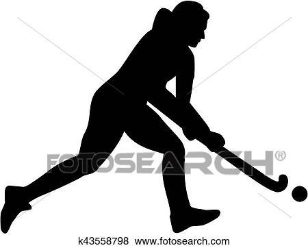 clip art of female field hockey player silhouette k43558798 search rh fotosearch com field hockey clipart free field hockey clips