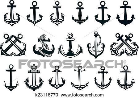 H raldique ensemble de bateaux ancre ic nes clipart k23116770 fotosearch - Ancre bateau dessin ...