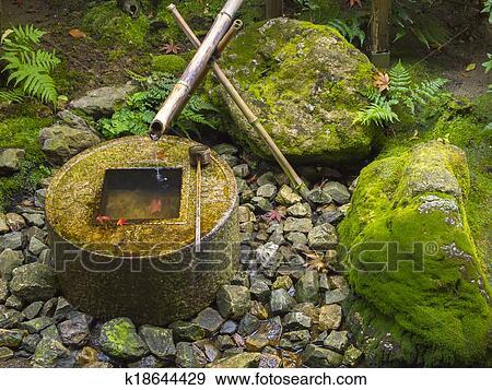 Stock Fotograf Japanische Traditionelle Bambus Brunnen
