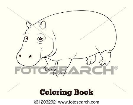 Clipart - libro colorear, hipopótamo, africano, sabana, animal ...