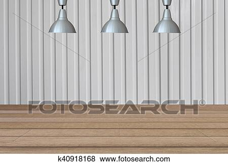 Silver Lamps On The Ceiling And A Backdrop On A White Metal
