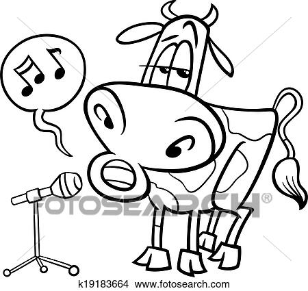 Black And White Cartoon Illustration Of Funny Singing Cow Character For Coloring Book