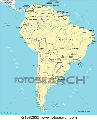 South America Political Map Clipart K21382635