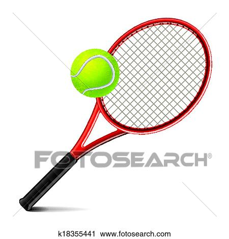 clipart of tennis racket and ball vector illustration k18355441 rh fotosearch com clip art tennis player clip art tennis ball
