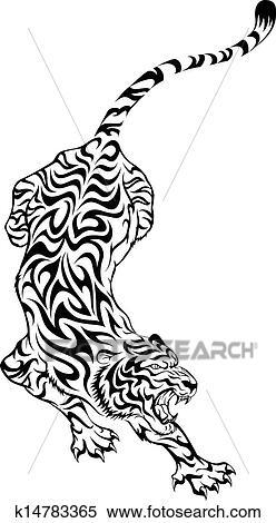 Tribal tiger tattoo Clipart   k14783365   Fotosearch
