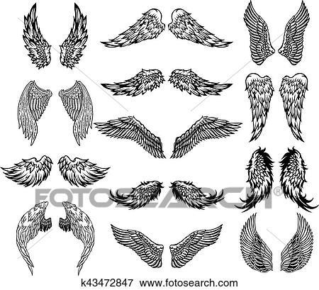 Wings Tattoo Set Clip Art